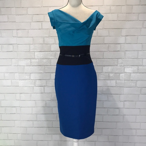 433c5bdd Black Halo Dresses | Blue Cap Sleeve Jackie O Sheath Dress | Poshmark
